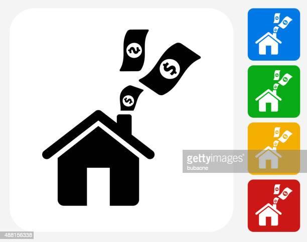 Home Money Icon Flat Graphic Design