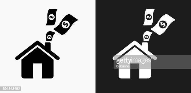 Home Money Icon on Black and White Vector Backgrounds