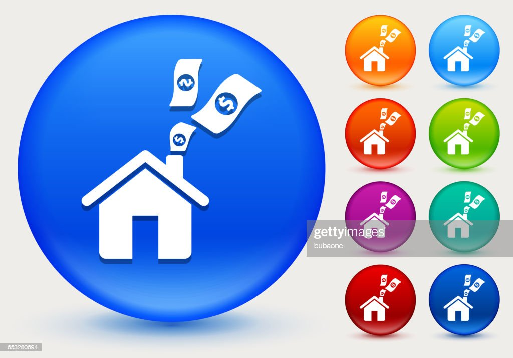 Home Money Icon on Shiny Color Circle Buttons : Vector Art