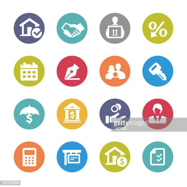 home mortgage icons - circle series - borrowing stock illustrations