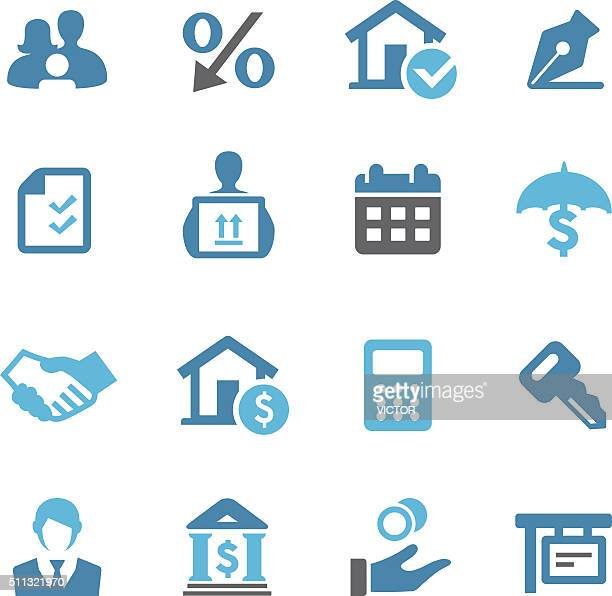 home mortgage icons - conc series - borrowing stock illustrations