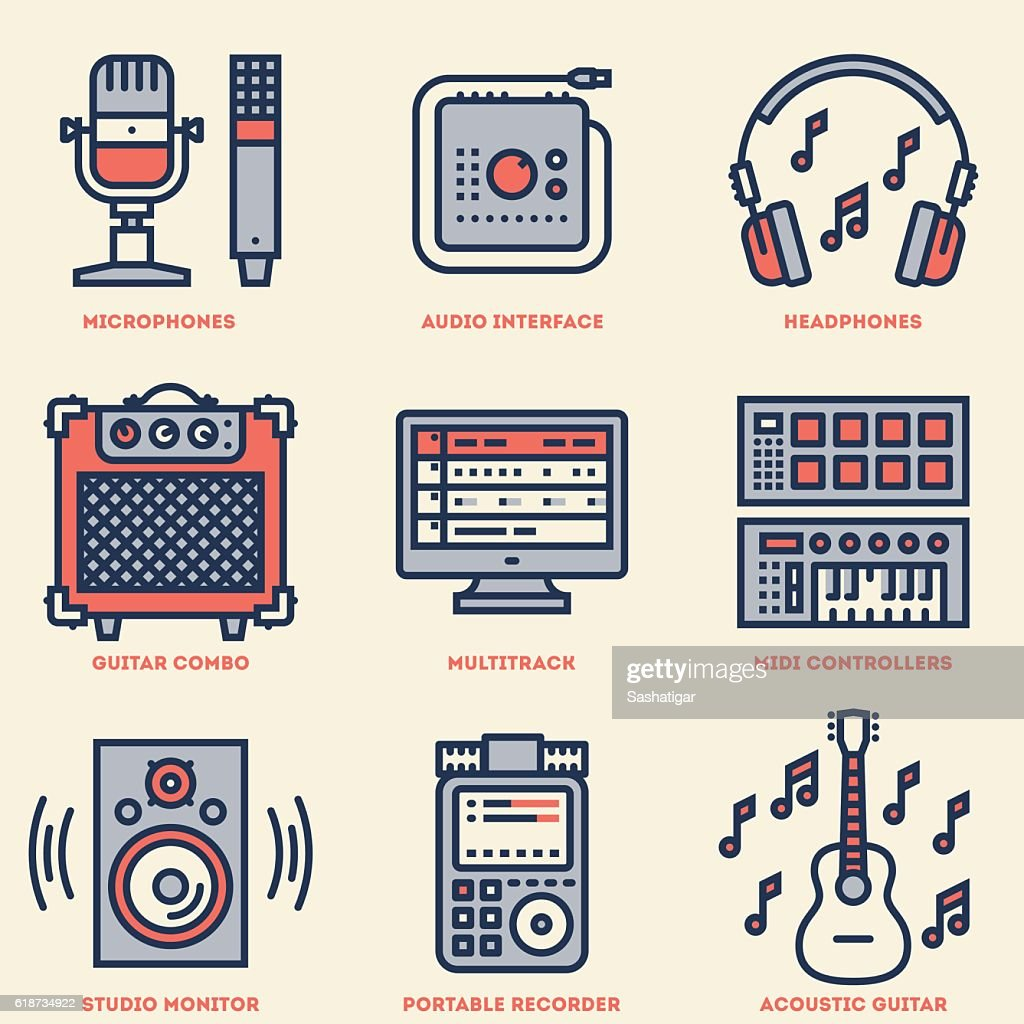 Home Musical Studio. Line Design Retro Icon Set. Vector Illustrations.