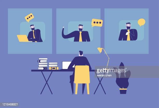 illustrations, cliparts, dessins animés et icônes de illustration de stock de bureau à la maison et de vidéoconférence - réunion