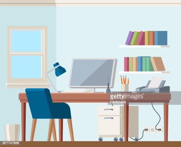 バイオハザード本棚椅子の作業ホーム オフィス コンピューター - 机点のイラスト素材/クリップアート素材/マンガ素材/アイコン素材