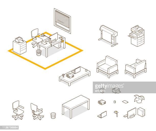 stockillustraties, clipart, cartoons en iconen met home/kantoor elementen - kantoor