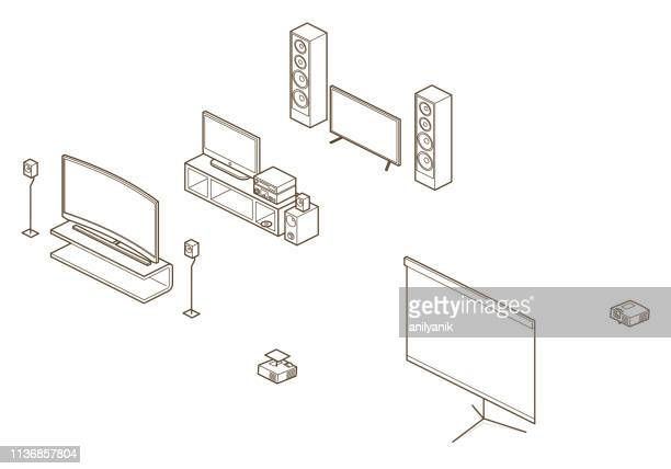 home/ office elements - projection equipment stock illustrations