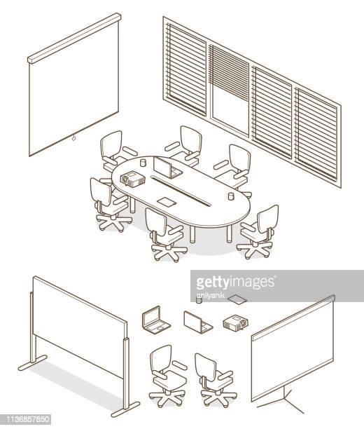 home-/büroelemente - projektionswand stock-grafiken, -clipart, -cartoons und -symbole