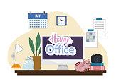 home office interior computer desk camera