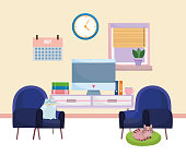 home office interior computer furniture books