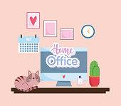 home office interior computer screen calendar
