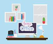 home office interior desktop monitor camera