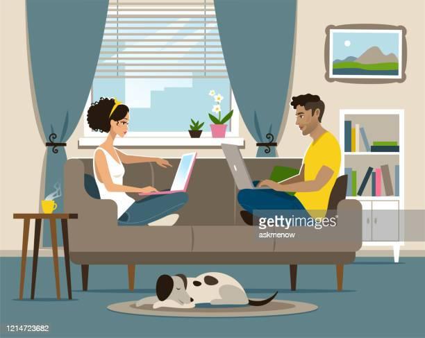 ilustraciones, imágenes clip art, dibujos animados e iconos de stock de oficina en el hogar - cuarentena