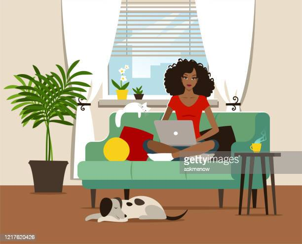 home office - one woman only stock illustrations