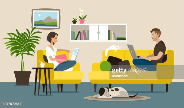 home office - mid adult stock illustrations