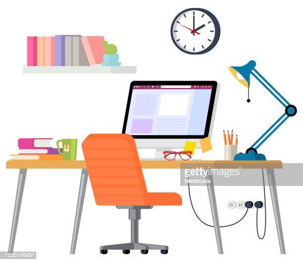 home office - schreibtisch stock-grafiken, -clipart, -cartoons und -symbole