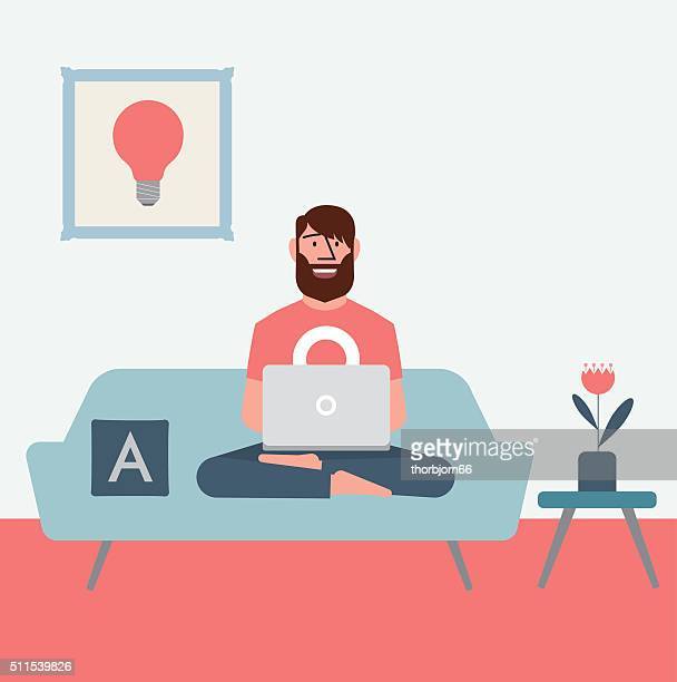 homeoffice - house interior stock illustrations, clip art, cartoons, & icons