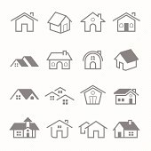 Home outline stroke symbol vector icons