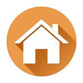 Home page icon. Orange round sign