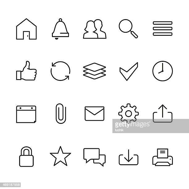 home page interface related vector icons - printout stock illustrations