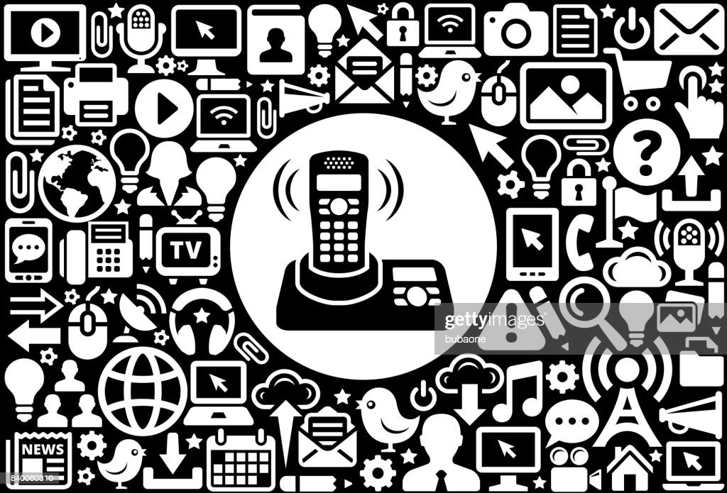 Home Phone Icon Black And White Internet Technology Background