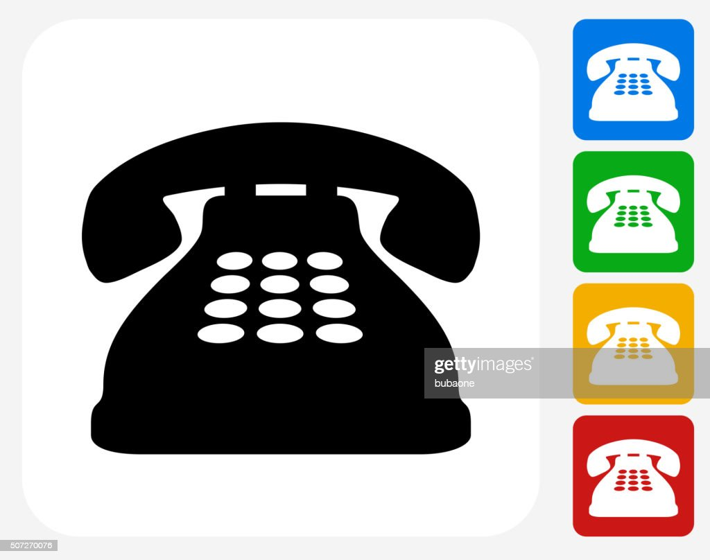 Home Phone Icon Flat Graphic Design : Vector Art