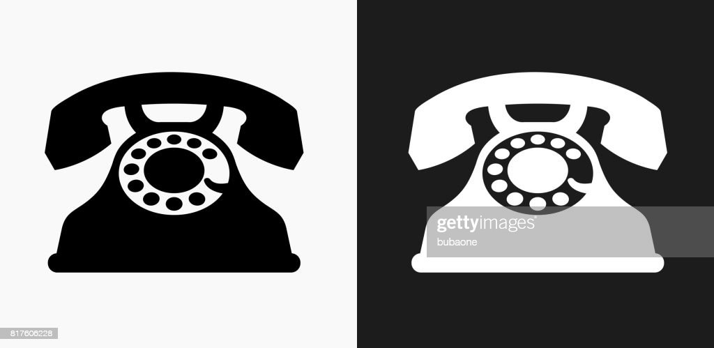 Home Phone Icon On Black And White Vector Backgrounds Vector Art