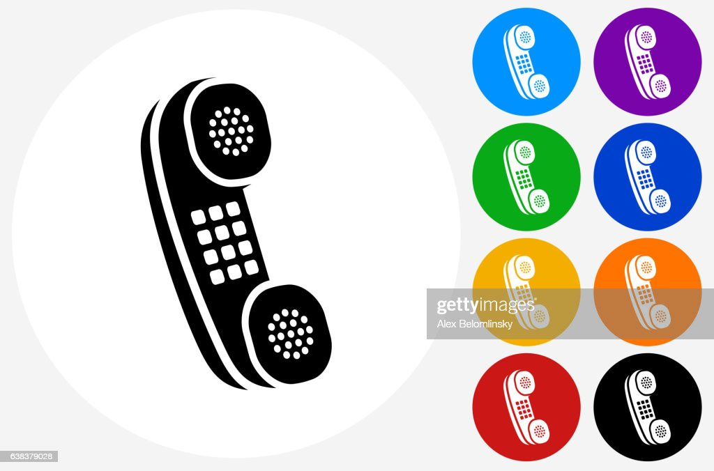 Home Phone Icon On Flat Color Circle Buttons Vector Art Getty Images