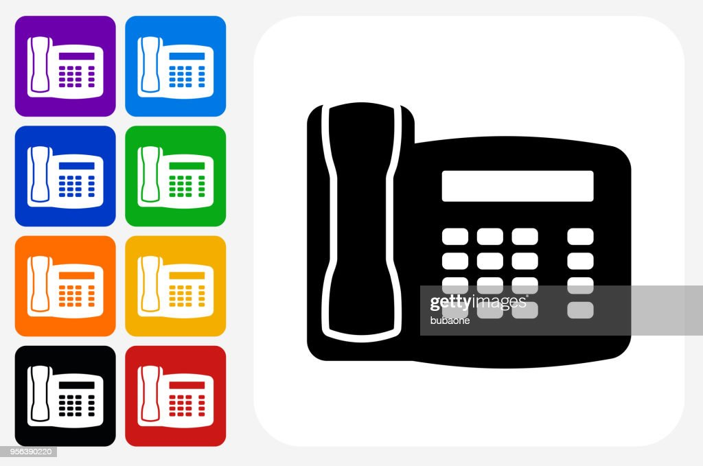 Home Phone Icon Square Button Set Vector Art Getty Images