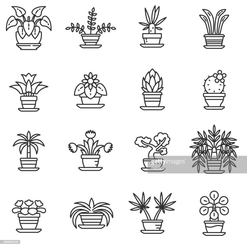 home plants icons set. Editable stroke