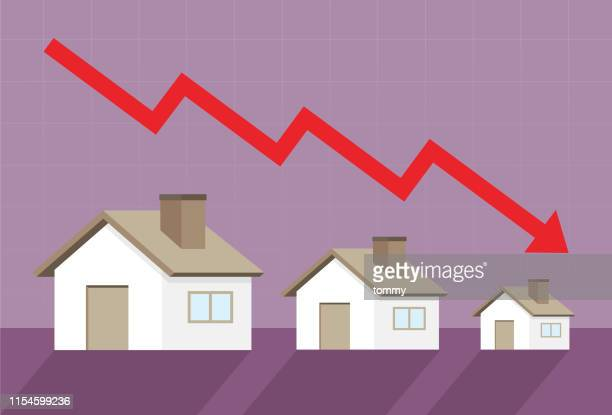 home prices go down - deterioration stock illustrations