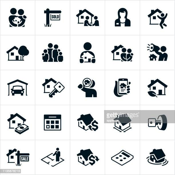 home real estate icons - mortgage loan stock illustrations