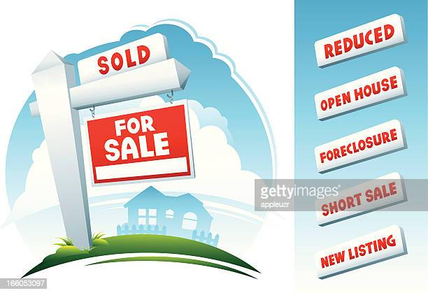 home real estate signs and house - estate agent sign stock illustrations