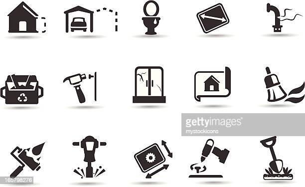illustrations, cliparts, dessins animés et icônes de ensemble d'icônes de la maison de rénovation - cuvette des toilettes