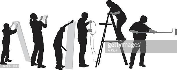 home renovators vector silhouette - phone cord stock illustrations, clip art, cartoons, & icons