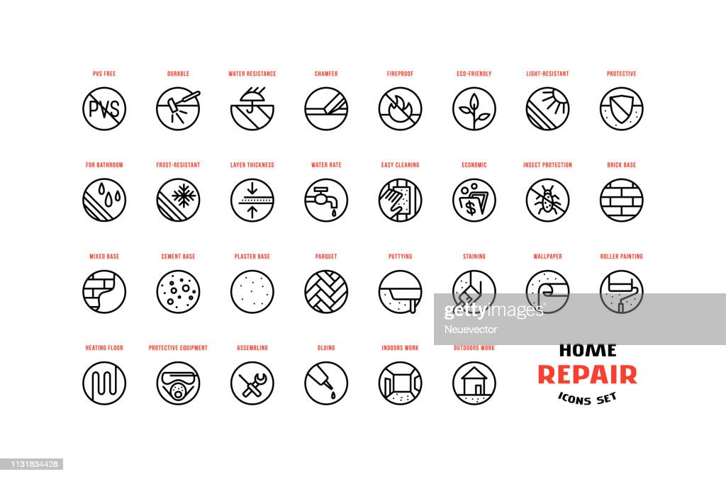 Home repair and building icons set in thin line style