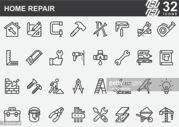 home repair and construction line icons - condition stock illustrations