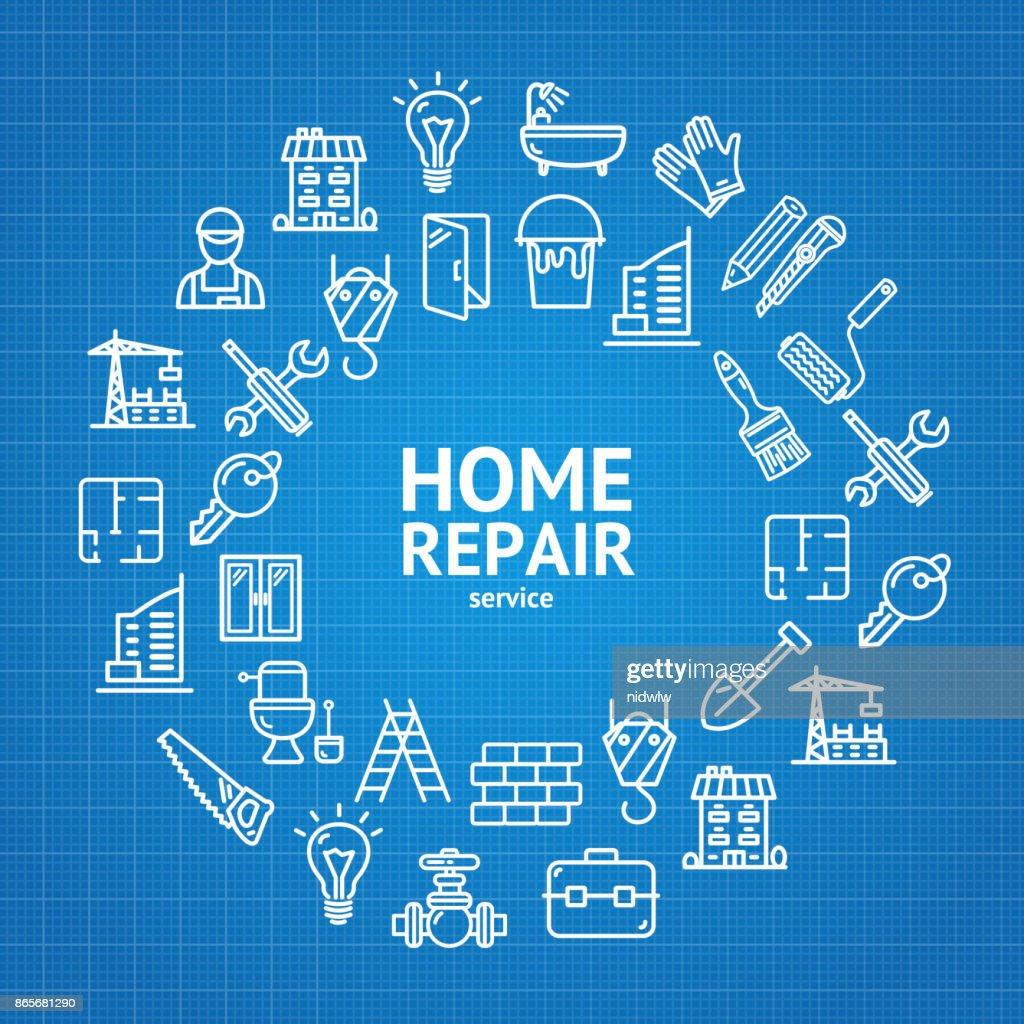 Home Repair Concept Round Design Template Line Icon Concept. Vector
