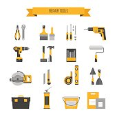 Home repair icon set. Сonstruction tools. Hand tools for home renovation and construction. Flat style, vector illustration.