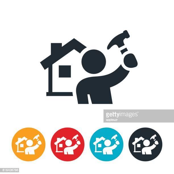 ilustraciones, imágenes clip art, dibujos animados e iconos de stock de icono de home repair - bricolaje