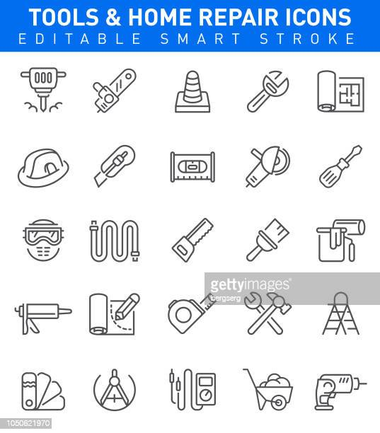 home repair icons. editable stroke - tape measure stock illustrations