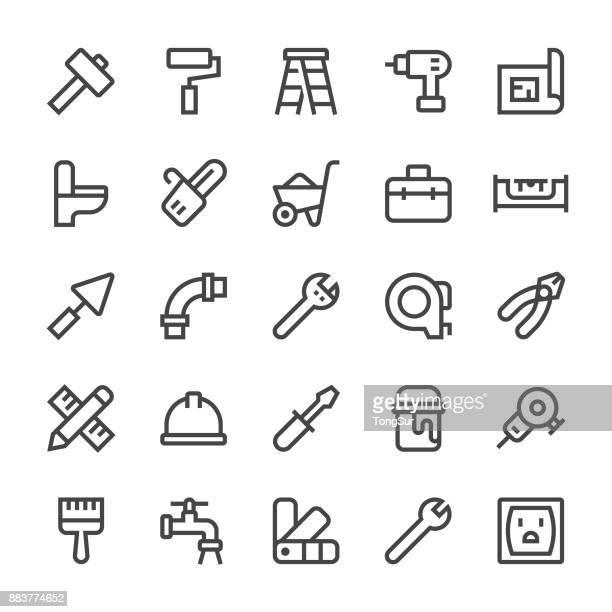 ilustraciones, imágenes clip art, dibujos animados e iconos de stock de iconos de reparación hogar - línea mediumx - bricolaje