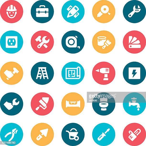 ilustraciones, imágenes clip art, dibujos animados e iconos de stock de reparación de inicio iconos - bricolaje