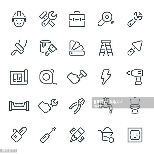 home repair icons - ladder stock illustrations, clip art, cartoons, & icons