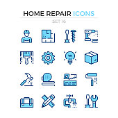 Home repair icons. Vector line icons set. Premium quality. Simple thin line design. Stroke, linear style. Modern outline symbols, pictograms