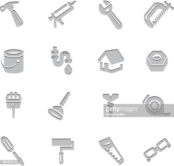 home repair imprint icons - plunger stock illustrations, clip art, cartoons, & icons