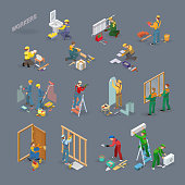 Home repair isometric icons set with workers, tools.