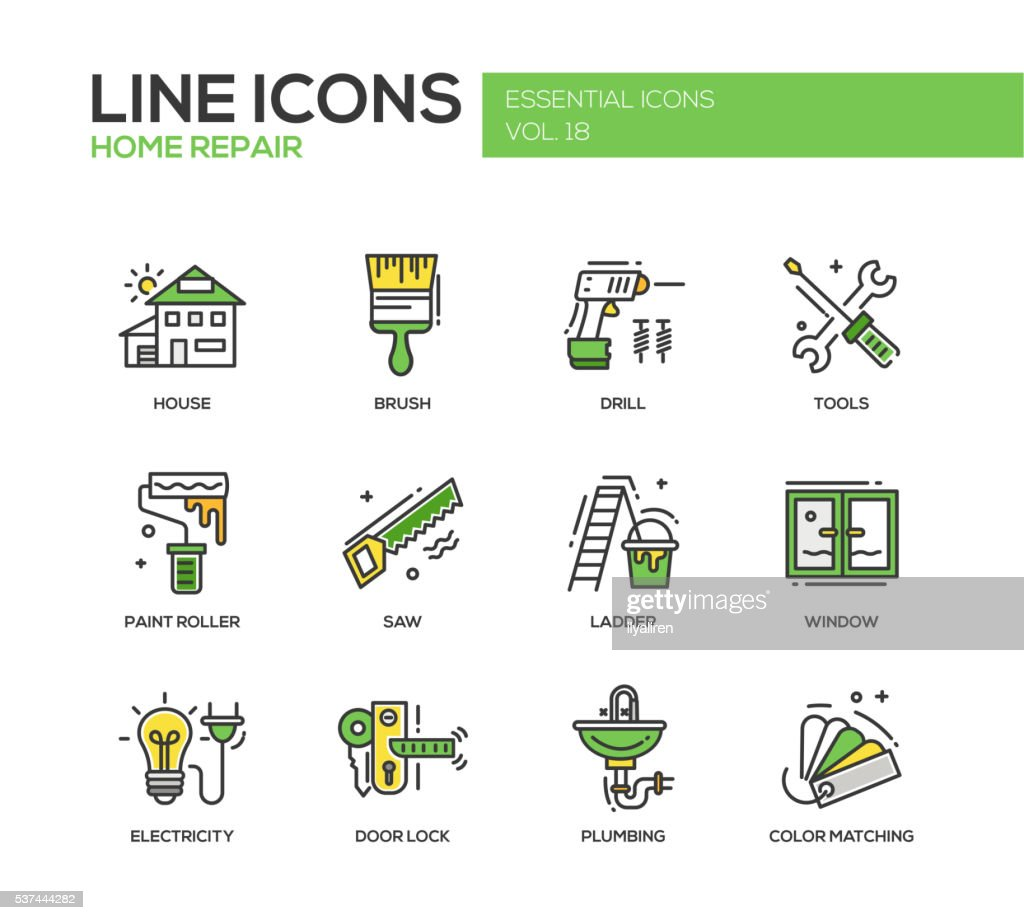 Home repair line design icons set