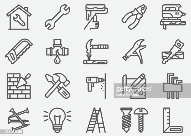 home repair line icons - building stock illustrations