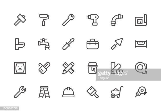 ilustrações, clipart, desenhos animados e ícones de reparo de home - ícones de linha - cinto de ferramentas