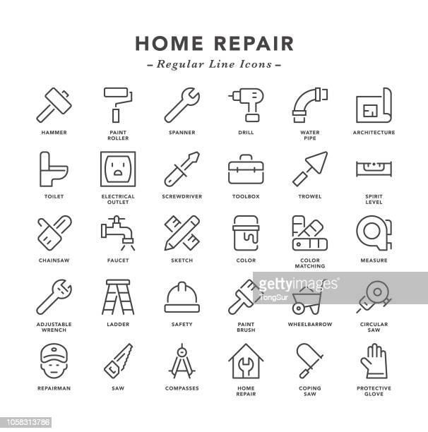 home repair - regular line icons - power tool stock illustrations, clip art, cartoons, & icons